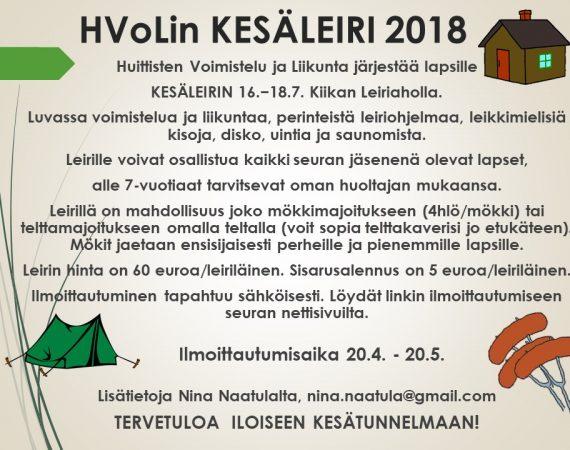 Ilmoittaudu HVoLin kesäleirille!