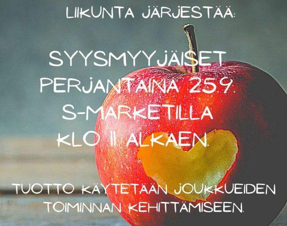 Joukkueiden yhteiset myyjäiset perjantaina 25.9.