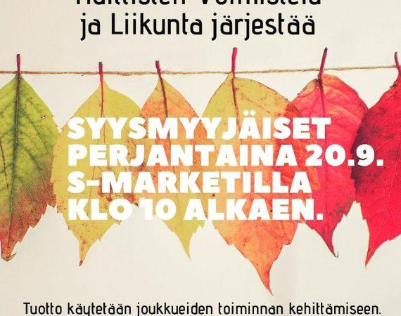 Joukkueiden myyjäiset 20.9.
